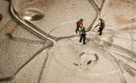 Mikrowelle, Glasteller, Zerbrochen, Unglück, Küche Miniwelt